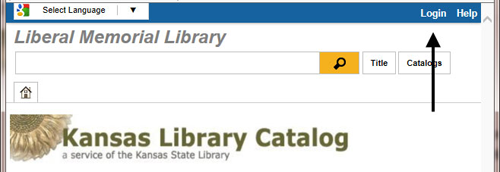 Login to the Kansas Library Catalog