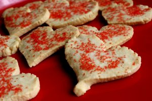 Valentine heart shaped cookies