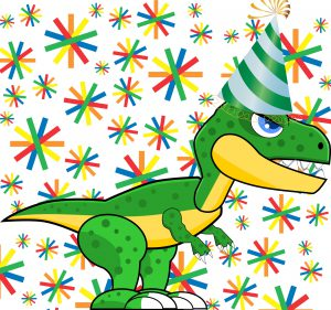 Dinosaur wearing a party hat