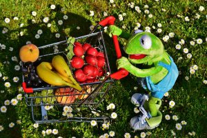 kermit shopping cart fruit and vegtables