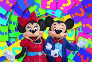 Mickey and Minnie Mouse in front of question marks