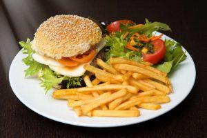 hamburger and salad