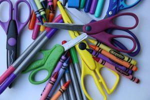 school supplies scissors crayons