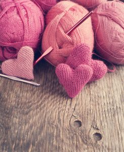 Yarn, Crochet pink hearts