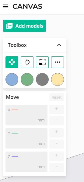 canvas toolbox menu