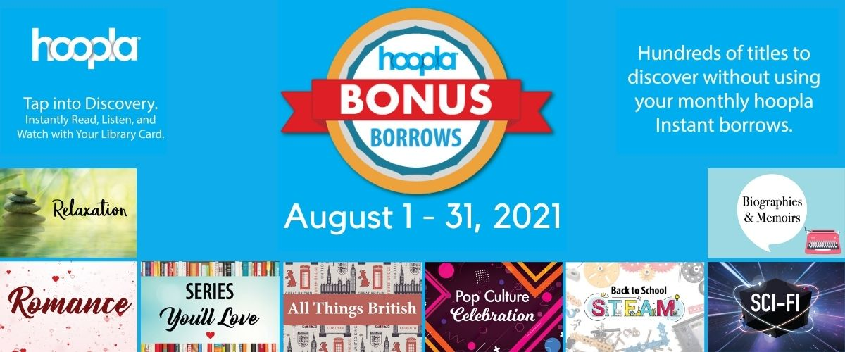 hoopla Bonus Borrows August 1-31, 2021