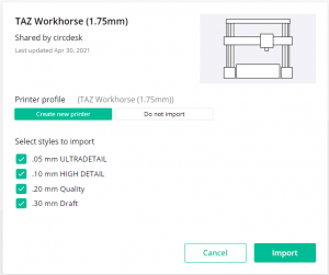 importing printer in canvas